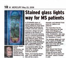 Newspaper article in The Mercury about Tessa's Danesbury window