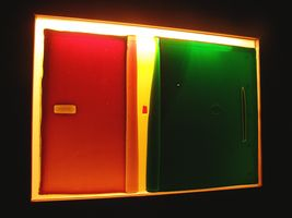 Red, Gold and Green lighted wall mount (perspective view)