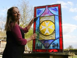 Tessa with Gladys' memorial window