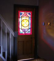 Light flooding through Gladys' memorial window installed in a hallway