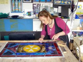 Tessa working on the memorial window for Gladys Ball