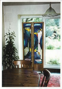 Folding oak screen in dining room